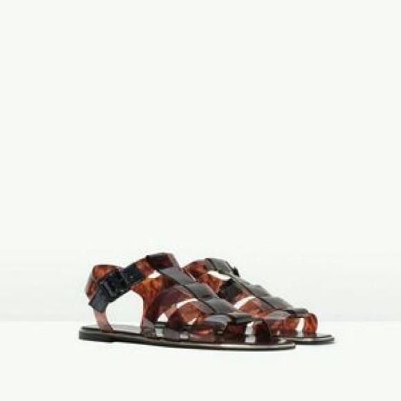 582abf49d1e627 Zara Tortoise Shell Jelly Sandals. M 5b4b82133e0caa4be7bb6bb9